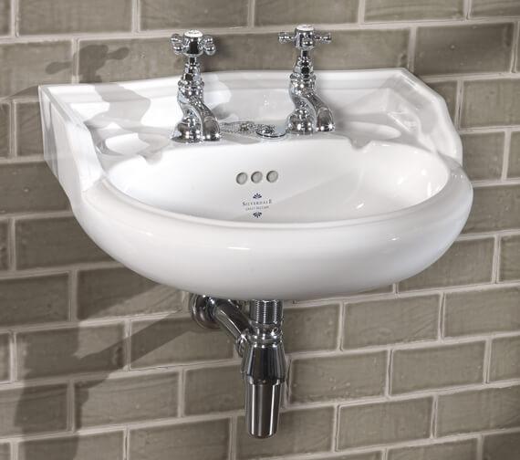 Silverdale Nouveau 495mm 2 Tapholes White Cloakroom Basin