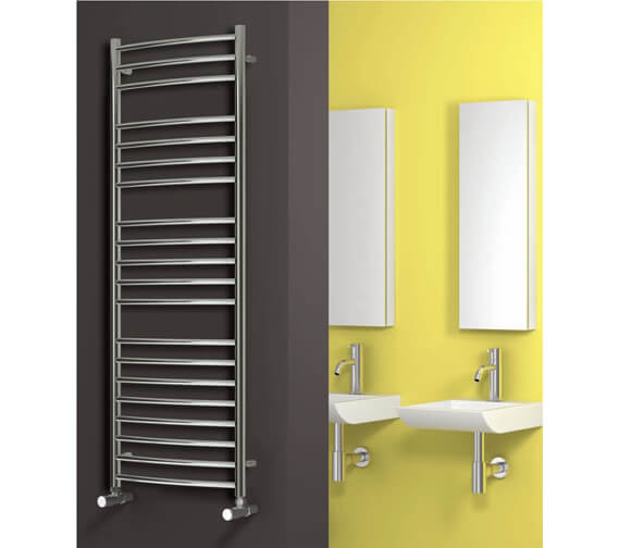 Alternate image of Reina Eos Curved 500mm Wide Stainless Steel Designer Radiator - Available Heights 430 - 720 - 1200 - 1500mm