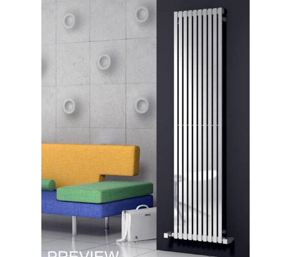 Alternate image of Reina Xeina 245 x 2000mm Stainless Steel Designer Radiator - More Width Sizes Available