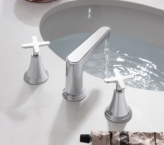 Additional image of Crosswater Celeste Deck Mounted 3 Hole Basin Mixer Tap - Wall Mounted Optional