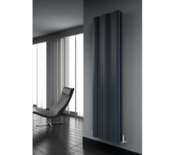 Alternate image of Reina Gio 280 x 1800mm Anthracite Double Panel Vertical Aluminium Radiator - More Width Sizes Available
