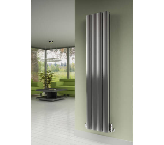Alternate image of Reina Greco 1800mm High Polished Double Panel Vertical Aluminium Radiator - Available Width  280 - 375 And 470mm