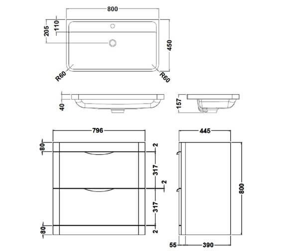 Alternate image of Premier Parade 600mm 2 Drawer Floor Standing Cabinet And Basin
