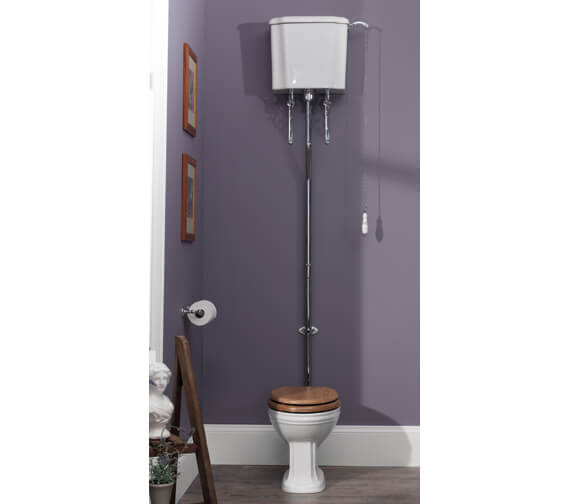 Silverdale Balasani White High Level WC Pan With Cistern