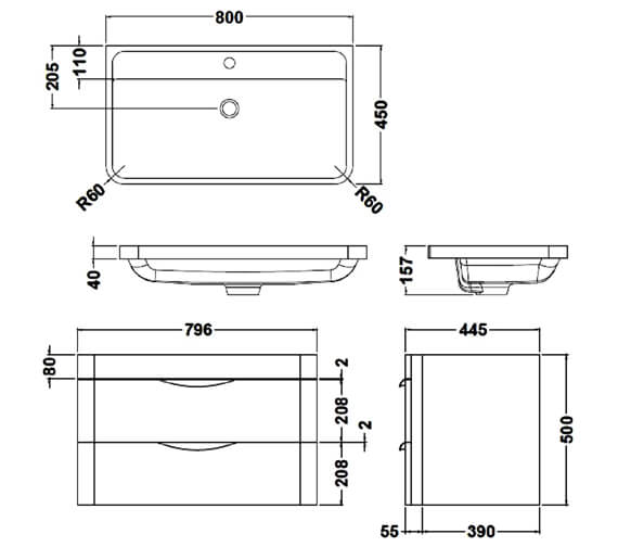 Alternate image of Premier Parade 2 Drawer Wall Hung Cabinet And Basin