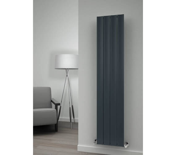 Alternate image of Reina Luca 280 x 1800mm Anthracite Single Panel Vertical Aluminium Radiator - More Width Sizes Available