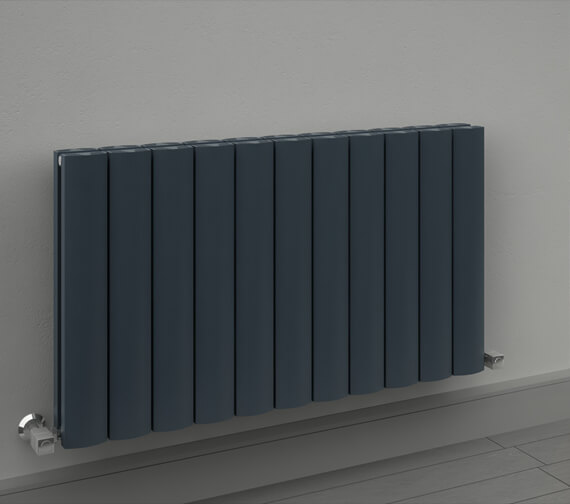 Alternate image of Reina Greco 470 x 600mm Anthracite Double Panel Horizontal Aluminium Radiator - More Width Sizes Available
