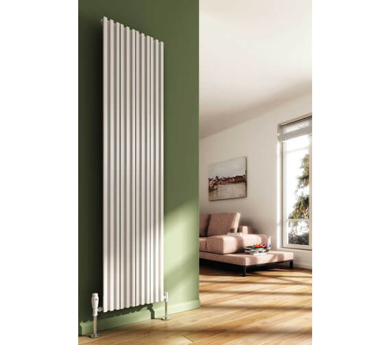 Reina Quadral 1800mm High Single Panel Vertical Aluminium Radiator White