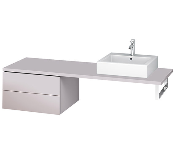 Alternate image of Duravit L-Cube 620mm White Matt Double Drawer Floor Standing Vanity Unit For Console