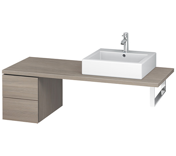 Additional image of Duravit L-Cube 320mm White Matt Double Drawer Floor Standing Vanity Unit For Console