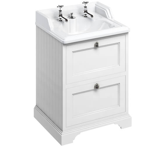 Burlington 65cm Matt White 2 Drawer Vanity Unit With Classic Invisible Overflow Basin