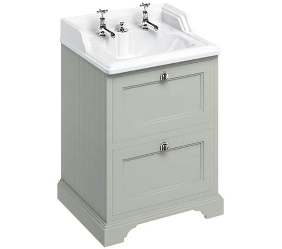 Additional image of Burlington 65cm Matt White 2 Drawer Vanity Unit With Classic Invisible Overflow Basin