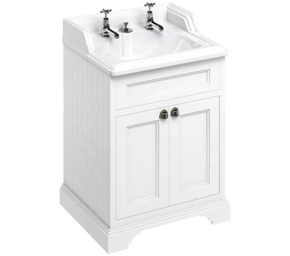 Burlington 650mm Matt White Two Door Vanity Unit With Classic Invisible Overflow Basin