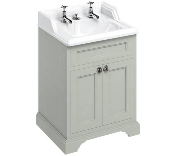 Additional image of Burlington 650mm Matt White Two Door Vanity Unit With Classic Invisible Overflow Basin