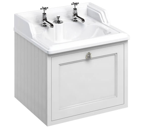 Burlington Wall Haung 650mm Matt White Drawer Unit With Classic Invisible Overflow Basin