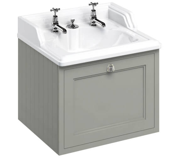 Additional image of Burlington Wall Haung 650mm Matt White Drawer Unit With Classic Invisible Overflow Basin