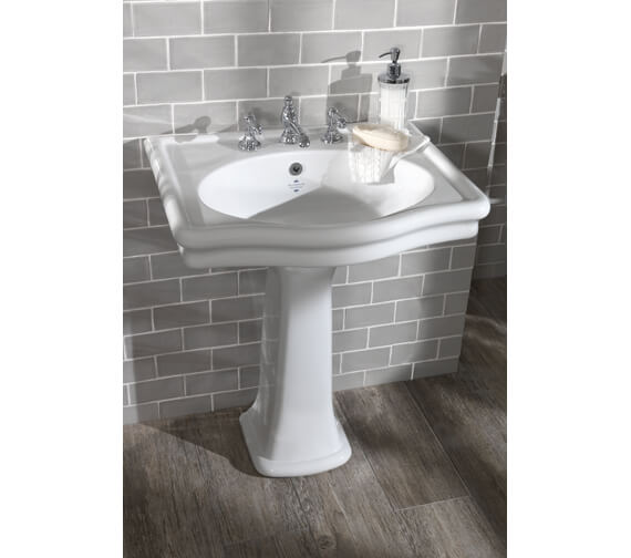 Silverdale Loxley 650mm White 3 Tap Hole Basin