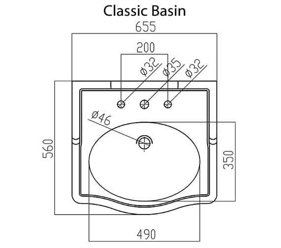 Technical drawing QS-V93651 / LOCLBAS65HWHIBL