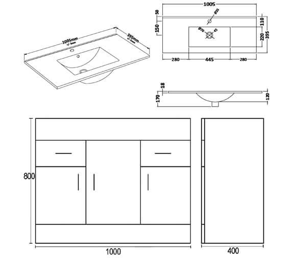 Premier Eden 1000mm Floor Standing 3 Door And 2 Drawer