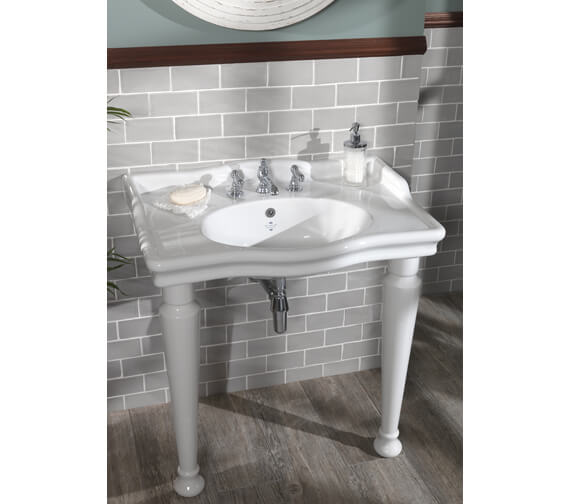 Silverdale Loxley Classic 860mm White 3 Taphole Basin