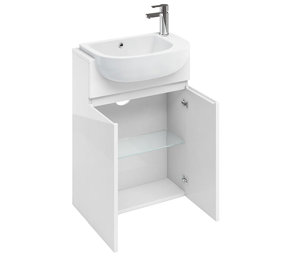 Britton Compact 600mm White Floor Standing Unit With Worktop