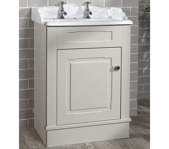 Alternate image of Silverdale Victorian 635mm Painted Cabinet And 2 Tap Holes Basin