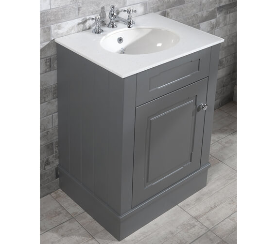 Silverdale Victorian 635mm Cabinet And 3TH Undermount Basin Painted Grey