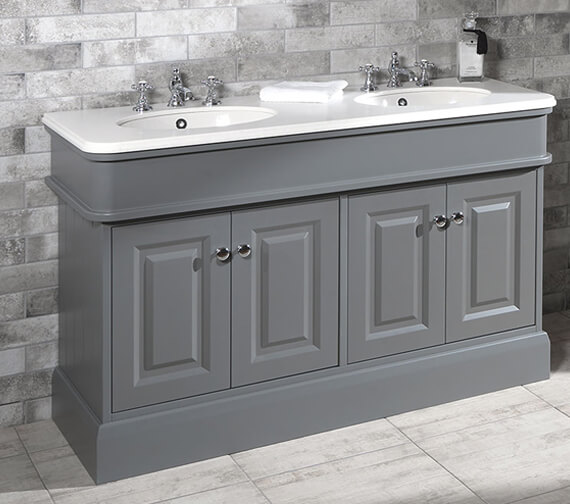 Silverdale Victorian 1400mm Painted Grey Cabinet With Worktop And Basin