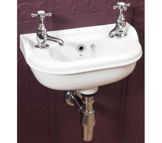 Silverdale Victorian 400mm 2 Tap Holes Micro Basin White