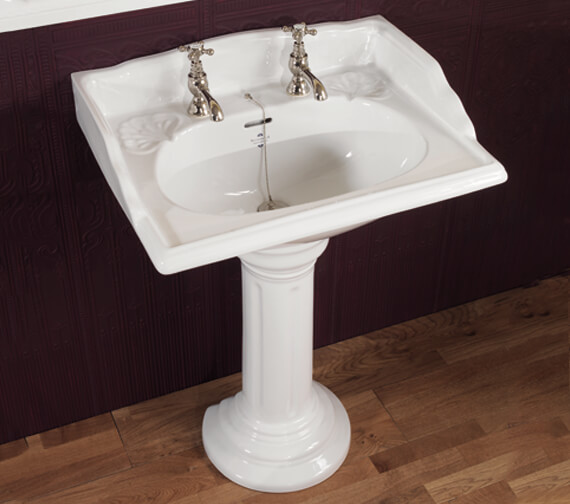 Silverdale Victorian 635 x 485mm 2 Tapholes White Basin
