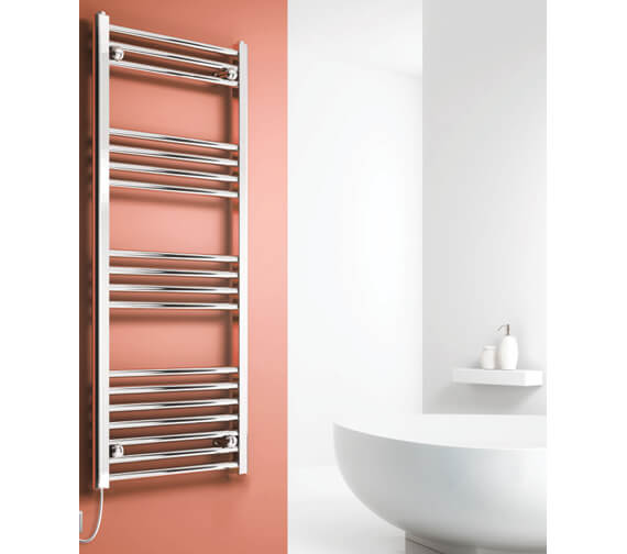 Reina Capo 400mm Wide Chrome Flat Electric Towel Rail
