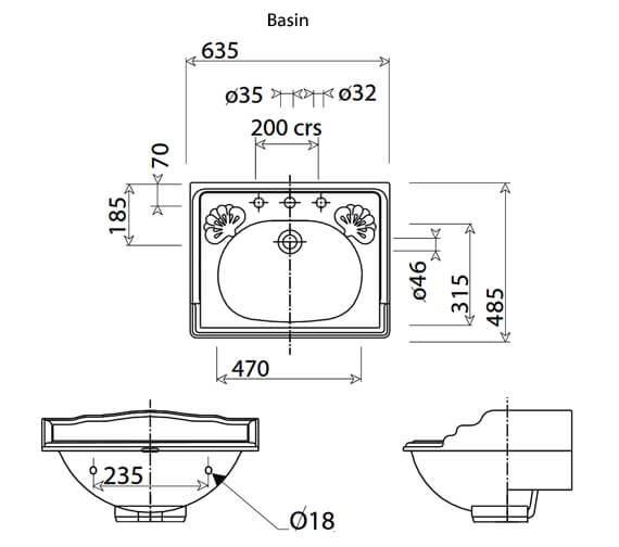 Technical drawing QS-V77610 / VCBASPE2WHIVG