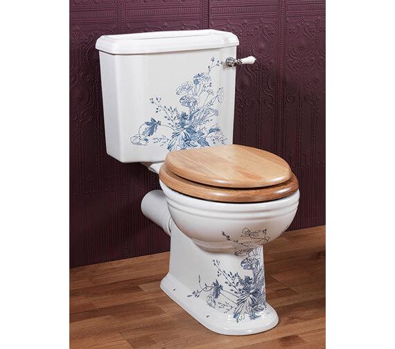 Silverdale Victorian Blue Garden White Close Coupled Toilet