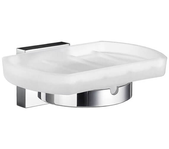 Smedbo House Polished Chrome Holder With Frosted Glass Soap Dish