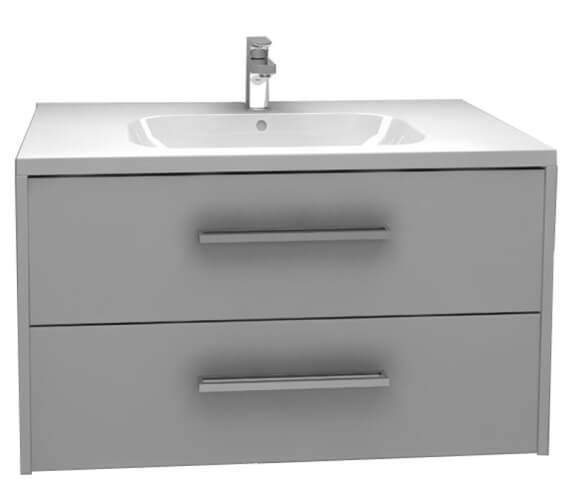 Alternate image of Pura Arco 900mm Wall Mounted Double Drawer storage cabinet With Basin