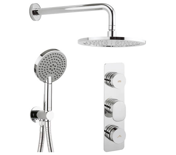 Crosswater Dial 2 Control Valve With Pier Trim - Fixed Head And Ethos Shower Handset