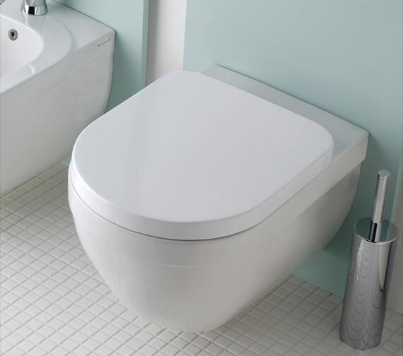Silverdale Richmond Wall Mounted White WC Pan With Toilet Seat