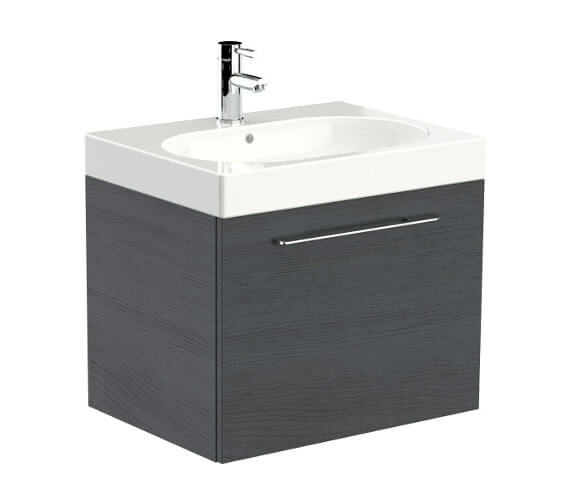 Additional image of Saneux Austen 600mm Gloss White 1 Drawer Cabinet With Washbasin