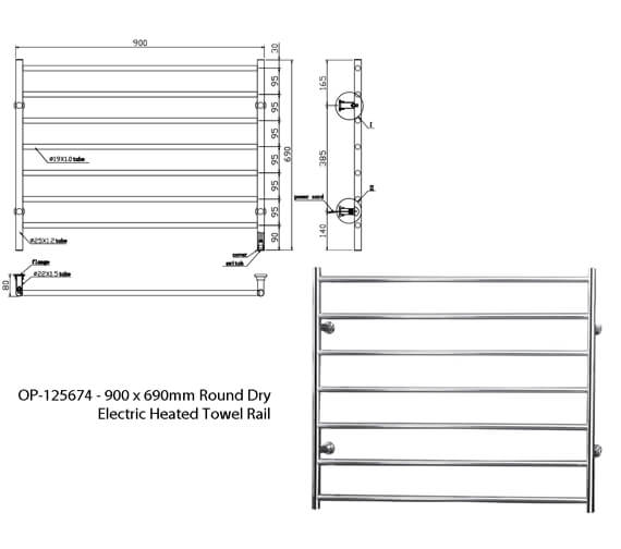 Additional image of Saneux Tempus 600mm x 690mm Round Dry Electric Heated Towel Rail