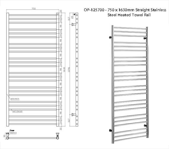 Additional image of Saneux Tempus 750mm x 790mm Straight Stainless Steel Heated Towel Rail