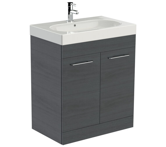 Additional image of Saneux Austen 700mm Gloss White 2 Door Cabinet With Washbasin