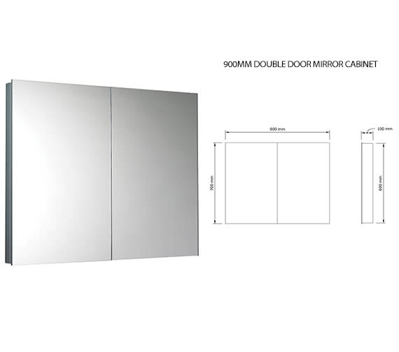 Additional image of Saneux Ice Double Door Mirror Cabinet 600mm Wide