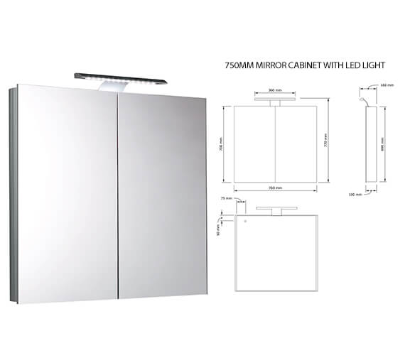 Additional image of Saneux Ice Mirror Cabinet With LED Light