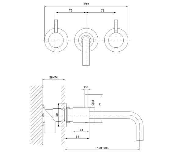 Technical drawing QS-V72549 / PRO130WNC