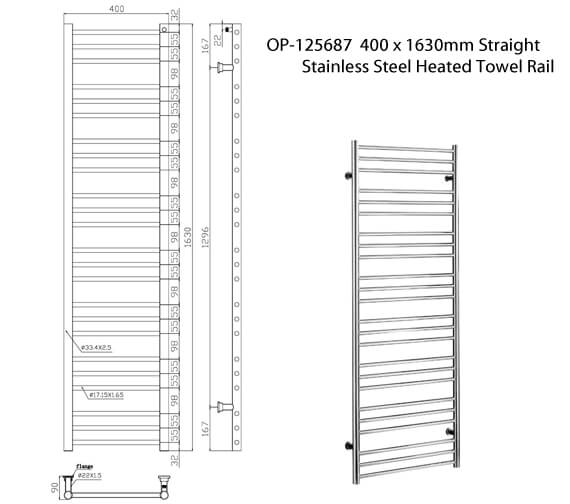 Additional image of Saneux Tempus 400mm Wide Straight Stainless Steel Heated Towel Rail