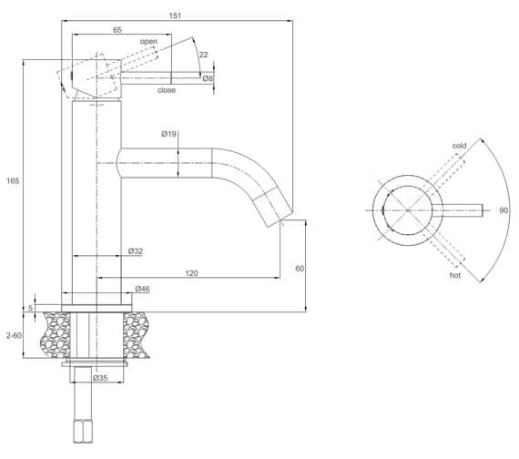 Technical drawing QS-V72519 / PRO110DNC