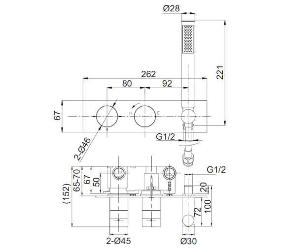 Technical drawing QS-V72615 / PRO1701RC+
