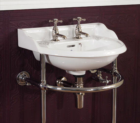 Silverdale Victorian White 2 Tapholes Cloakroom Basin