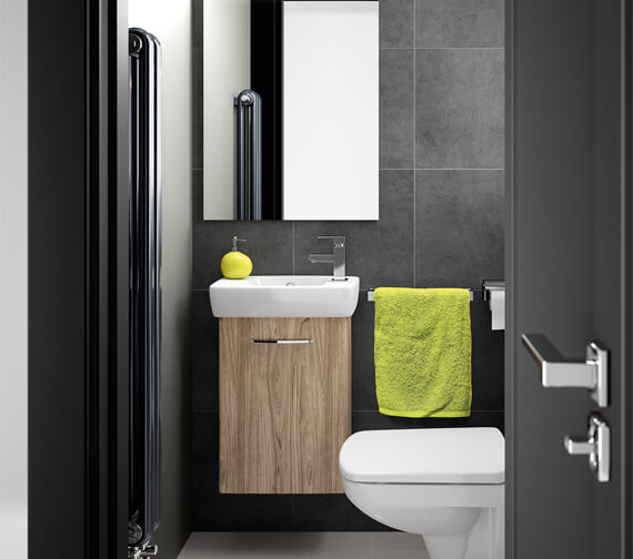 Alternate image of Twyford E100 Square White Compact Vanity Unit 396mm With 450mm 1 Tap Hole Basin