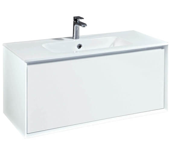 Phoenix Enzo 1010mm Wall Mounted Vanity Unit With Mineral Cast Basin White